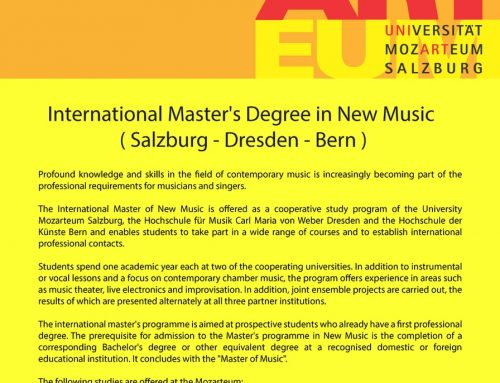 International Master's Degree in New Music (Salzburg – Dresden – Bern)